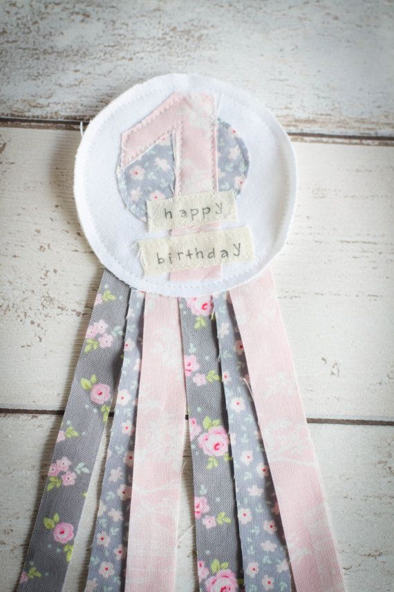 First  Birthday Rustic Shabby Chic Rosette Badge by mileyandmoss, £4.50