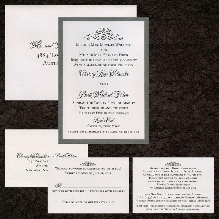 Two Layer Wedding Invitation, White Metallic Paper, Grey Metallic Paper,  Swarovski Crystals,