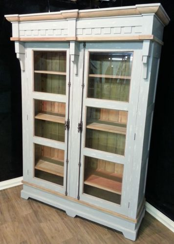 Hand Carved Mahogany Two Door Display Cabinet Grey Crush Distressed Bookcase featuring Iron Turn-Style Handles & Driftwood Inside- $3,189.00