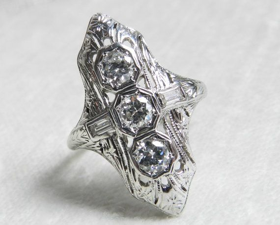 Engagement Ring 1 Ct 1920s Platinum by LoveAlwaysGalicia on Etsy