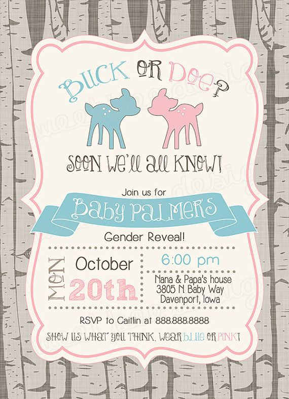 Buck Or Doe Gender Reveal Party Invitation Pink Blue Baby Shower Digital Boy Wood Winter Fall Invite