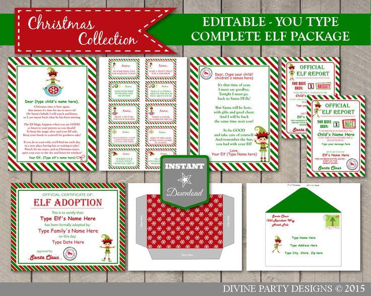 Sale Instant Download Editable Printable Elf Complete