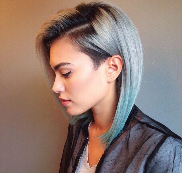 grey to blue with side cut bob