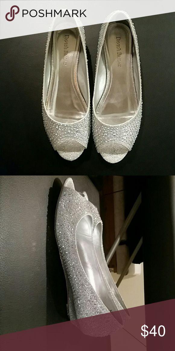 Bling Davids bridal wedding flats Beautiful, only worn once, bridal flats from David's Bridal David's Bridal Shoes Flats & Loafers
