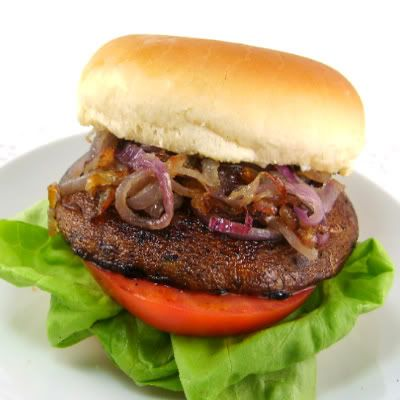One Perfect Bite: Marinated Portobello Burgers with Caramelized Onions and Roasted Garlic Aioli