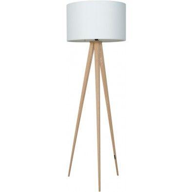 Vloerlamp Tripod Hout - Wit