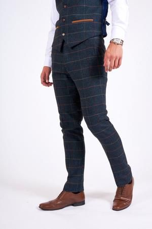efea181fc4f7 Marc Darcy Eton Men's Blue Slim Fit Tweed Check Suit Trousers | Blue ...