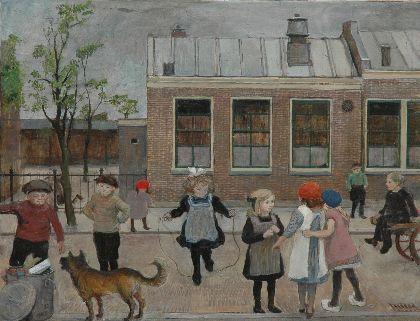 """Dorpsschool Oestgeest"", 1930. Harm Henrick Kamerlingh Onnes (1893-1985), Dutch painter."