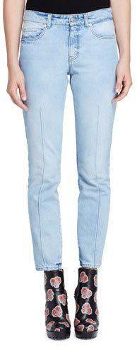 Alexander McQueen Bleached Denim Skinny Jeans, Light Denim