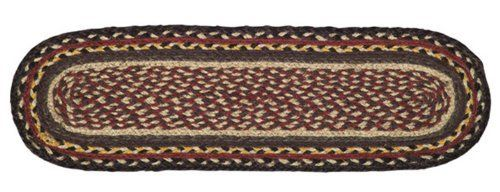 "Cambrie Lane Jute Stair Tread Oval 8.5x27"" by Victorian Heart. $7.95. Product measurements and additional details listed in title and/or Product Description below.. High end quality and workmanship!. Cambrie Lane Collection colors may incude: Burgundy, Black, yellow and Tan. All cloth items in our collections are 100% preshrunk cotton. All braided items (like rugs, baskets, etc.) are 100% jute. Extensive line of matching items and accessories available! (Search by Colle..."