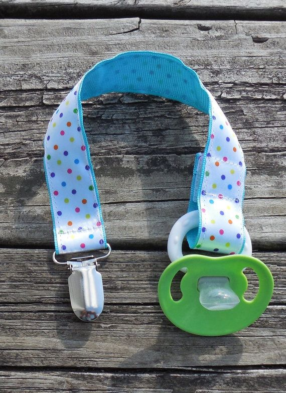 Aqua Ribbon Multi colored Dots Pacifier Holder by GabbysQuilts