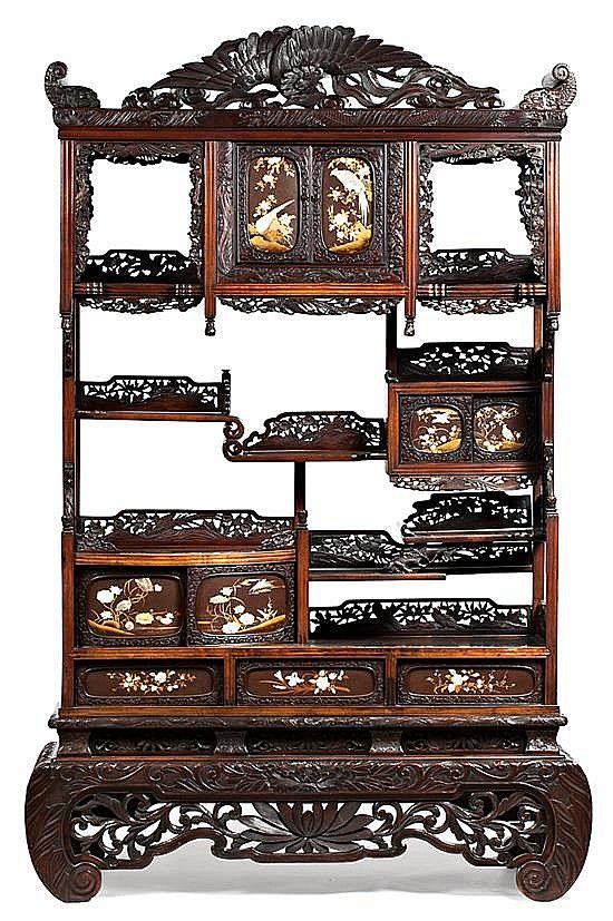 A carved and open worked wood Japanese wardrobe-dresser with ivory and hard stones inlays. From the late 19th century - early 20th century  213x145x46 cm