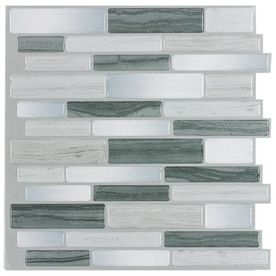 Peel Stick Mosaics Grey Mist Composite Vinyl Mosaic Scale Indoor Only Peel And Stick Wall