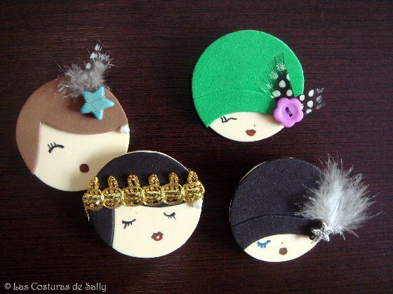 Broches de rostros de mujeres con sombreros y tocados - Broches para manualidades ...