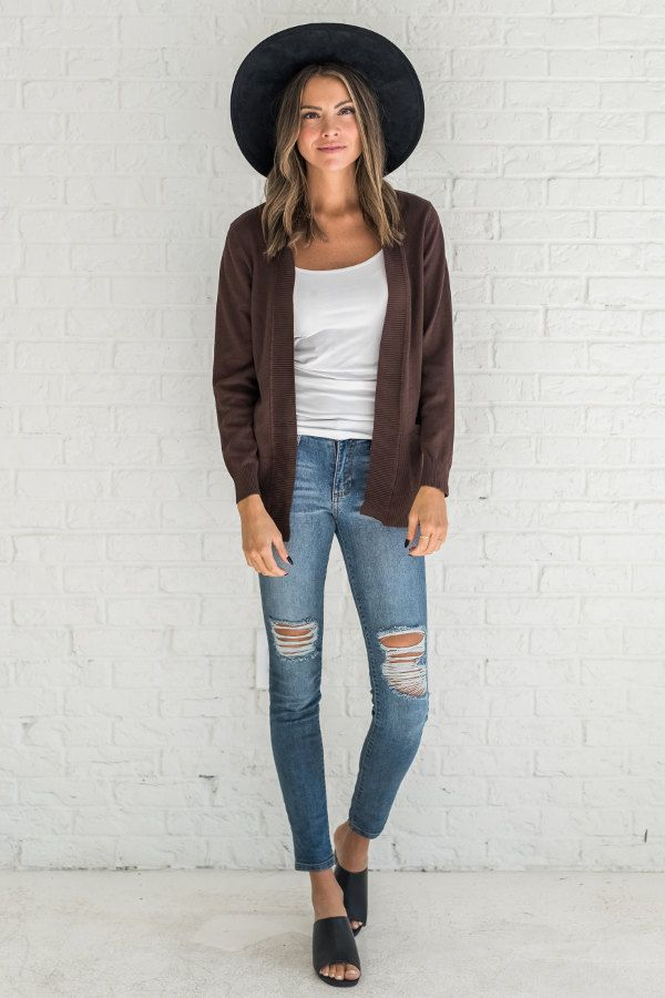 Brown cardigan, cute cardigan outfit for fall, cute outfits ideas for fall for w…
