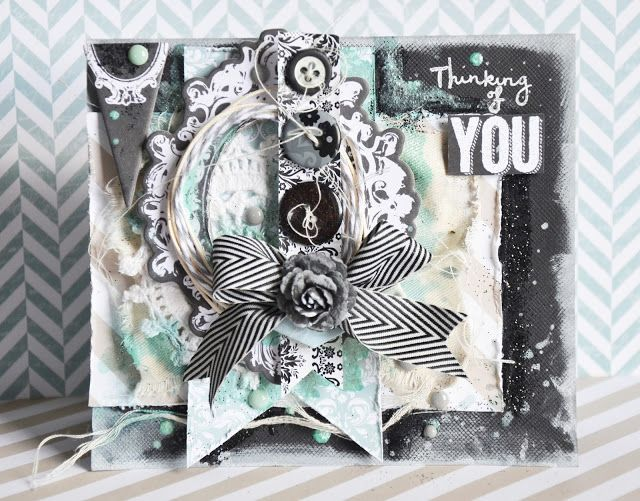handmade card ... black white and teal  ... birthday or baby shower card for a boy