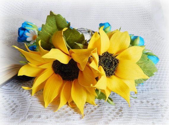 Sunflower wedding Bridal crown Sunflower by FloraFantasyIZ on Etsy