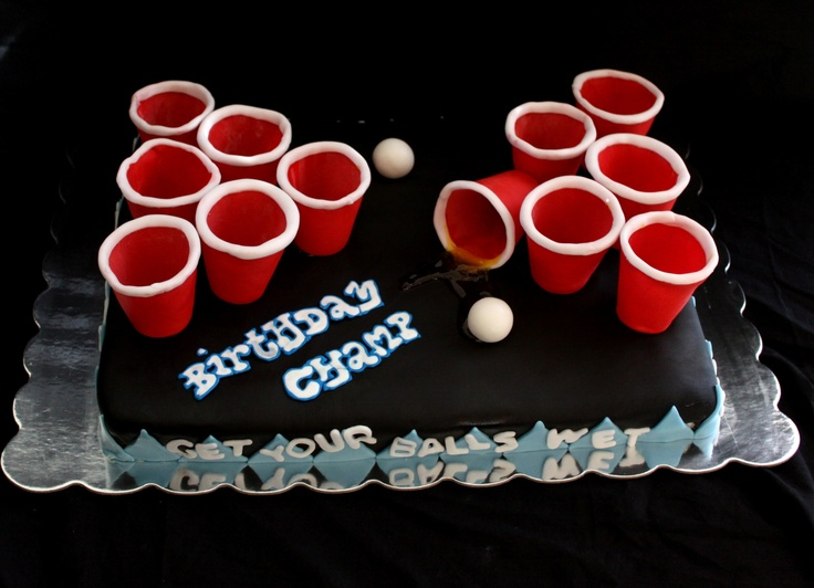 Beer pong birthday cake  Made for a friends birthday