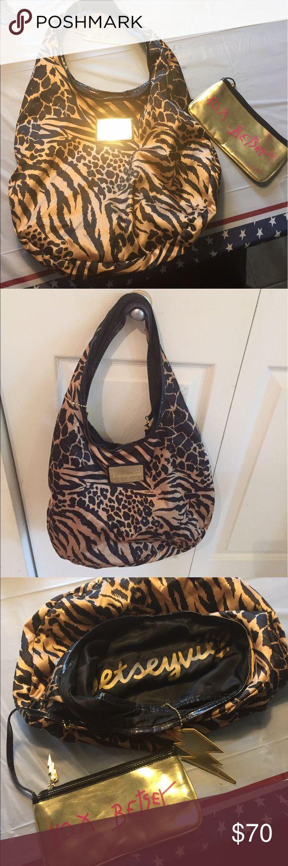 Betsey Johnson Shoulder Bag Cheetah Print Shoulder Bag includes all the bling makeup bag, key ring, plaque on Front, Signature Inside the bag and Animal Print Face and Signature on Makeup Bag gold & pink!!!! Betsey Johnson Bags Shoulder Bags
