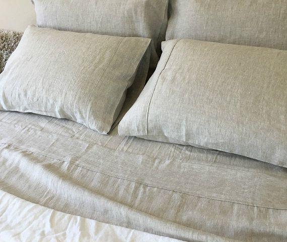 Natural Linen bed sheets, linen bedding, luxury bedding set, natural bedding