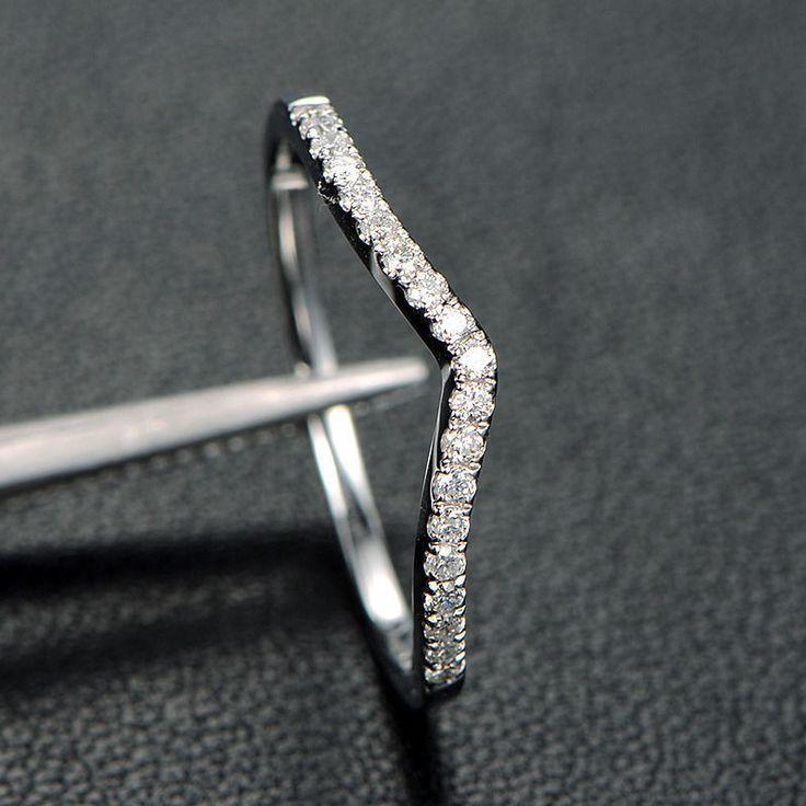 Pave Diamond Wedding Band Half Eternity Anniversary Ring 14K White Gold Curved