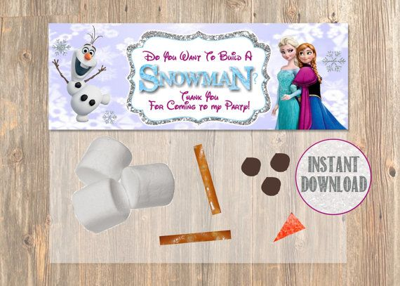 Do You Want To Build a Snowman? Frozen Favor Bag Toppers - Disney Frozen Birthday Printable for Party Treat Candy. Frozen Birthday Supplies....