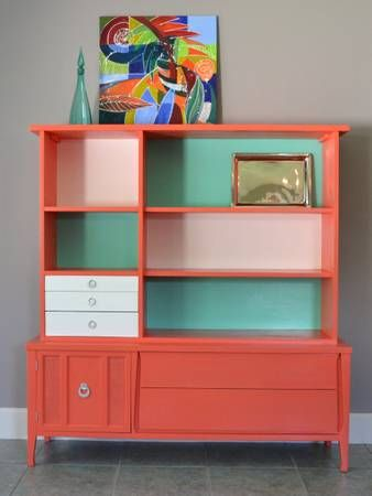 Orange Coral Teal White Painted Mid Century Hutch