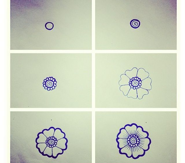 Easy abstract flower doodle   DIY   Pinterest
