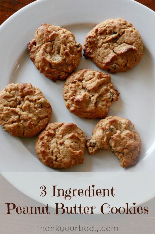 3 ingredient peanut butter cookies! As tasty as they are easy, and naturally grain and gluten free. So healthy, you won't feel bad about having seconds.
