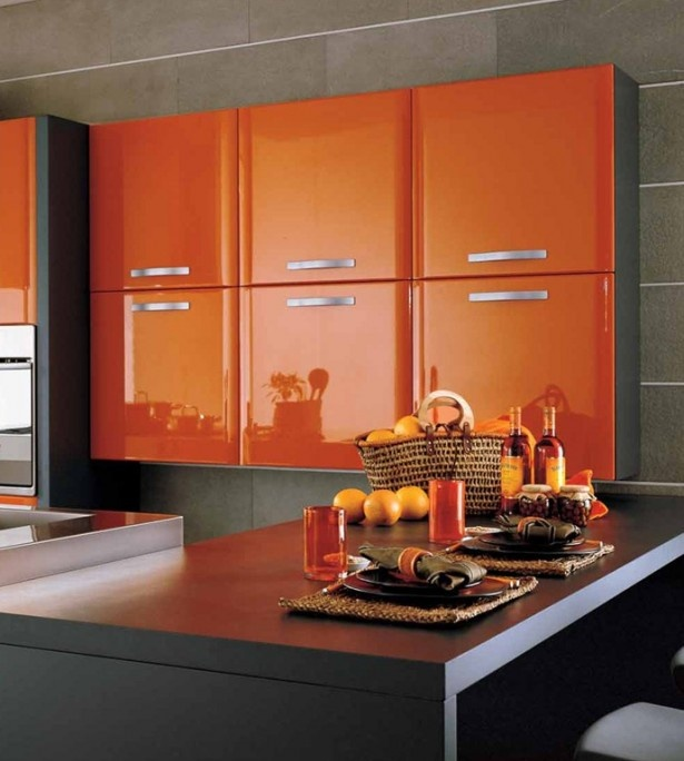 Stylish Orange Kitchen Designs For A Lighter Look Admirable Grey Ceramic Tiles Wall Modern Kitchen Design With Glossy Orange Kitchen Cabinets And