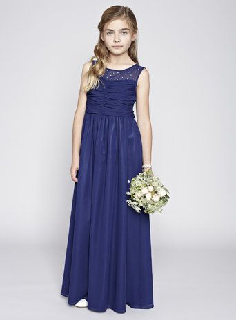 Teen navy illusion bridesmaid dress bridesmaidy ideas for Wedding dresses for tweens