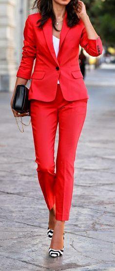 Express Red Print Suit - VivaLuxury