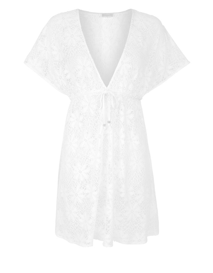 Accessorize | Ceri Lace Tabbard Dress | White | X Small