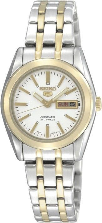 """SEIKO Dameshorloge Bicolor Automaat SYMH88K1. Kaliber 4207. Elegant en vrouwelijk vormgegeven dameshorloge met stalen goud-en zilverkleurige kast met witte wijzerplaat en dag- en datumaanduiding. Het horloge is voorzien van Hardlex glas en weegt 70 gram. Het uurwerk is een automaat, dat betekent dat er een """"ouderwetse' veer wordt opgewonden door de beweging van uw pols. Het tikgetal is 21.5600 en het aantal jewels bedraagt 21. https://www.timefortrends.nl/horloges/seiko.html"""