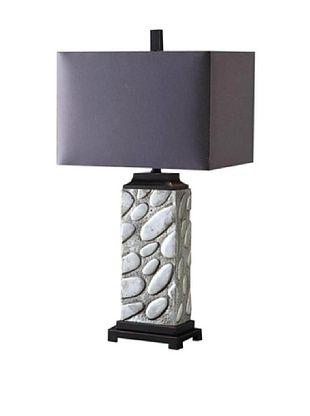 Greenwich Lighting Alden Table Lamp, Polished Aluminum/Black Nickel