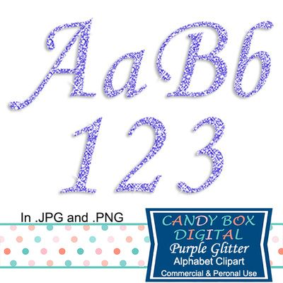 Purple Glitter Alphabet Clipart by Candy Box Digital. Great for invitations, announcements, scrapbooks, journals, blogs, websites and paper crafts - Candy Box Digital