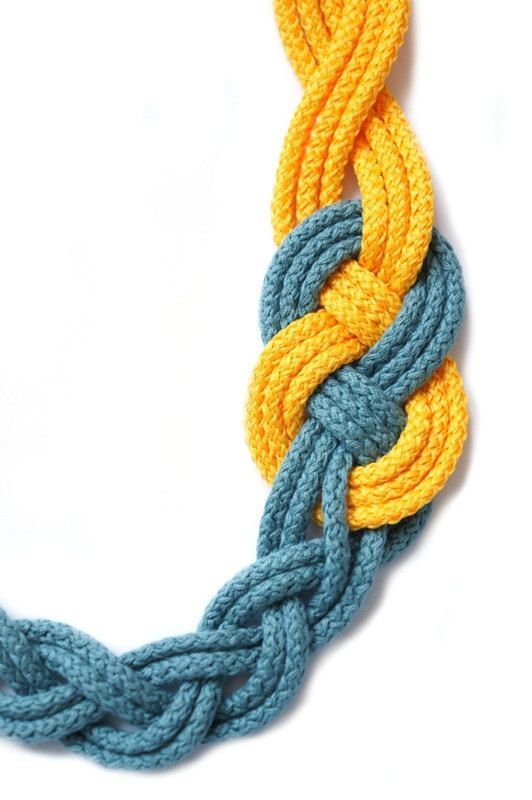 BRAIDED NECKLACESailor KnotNautical StyleYellow and Bluish