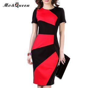 As Mulheres do escritório Vestir 2016 Patchwork Cintura Alta Trabalho Vestido de Verão fenda de Moda de Nova Magro Lápis Bodycon Vestido Vermelho E Preto mulheres