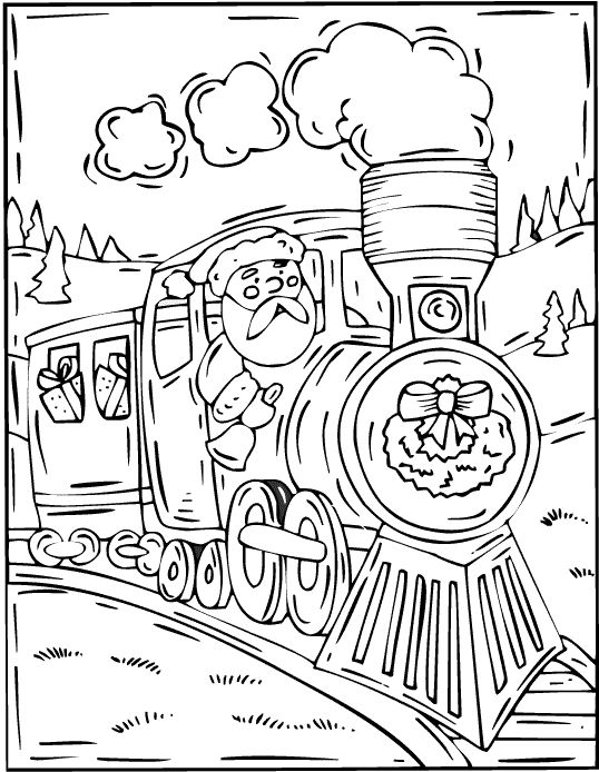 train coloring pages christmas coloring pages set 2