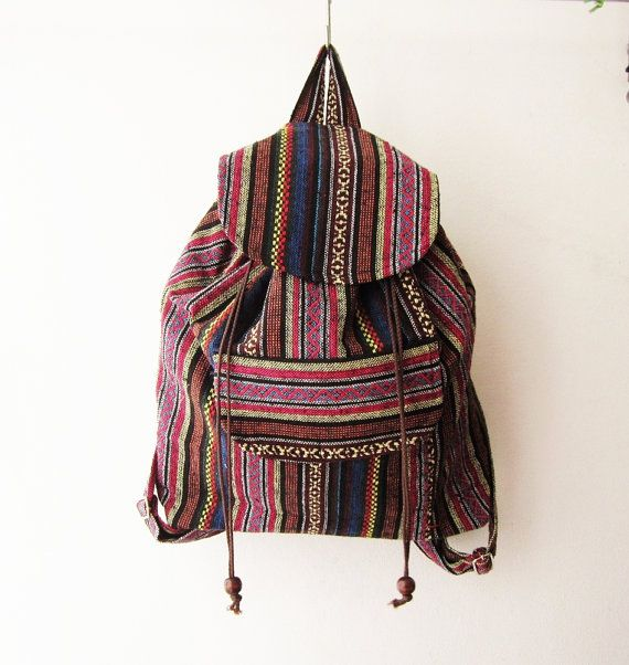 tribal backpack, ethnic rucksack, aztec backpack,ikat bag, hipster backpack, hippie boho school bag ** THE STRAPS IS ADJUSTABLE** This Fair-Trade