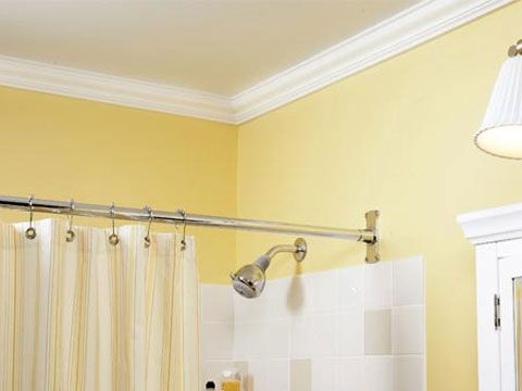 Crown molding in bathrooms...use urethane instead of wood because it won't expand/contract with humidity.