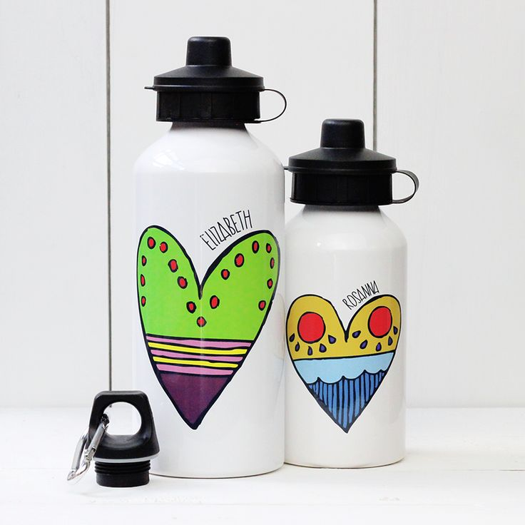 A Piece Of - Personalised 'Heart' Water bottle, £13.50, sport, gym, birthday, child, dad, mum, fathers' day, mothers' day, christening, baby shower, bottle, water, drink, present, party, gift, heart (http://www.apieceof.co.uk/personalised-heart-water-bottle/)