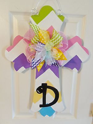 Handpainted-Wood-Door-Hanger-Large-Cross-Chevron-Initial