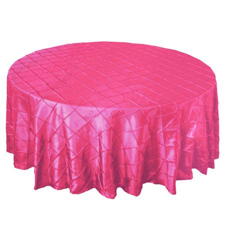 "90"" Round Pintuck Hot Fuchsia Pink Tablecloth 