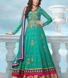Buy green embroidered chanderi semi stitched salwar with dupatta anarkali-salwar-kameez online