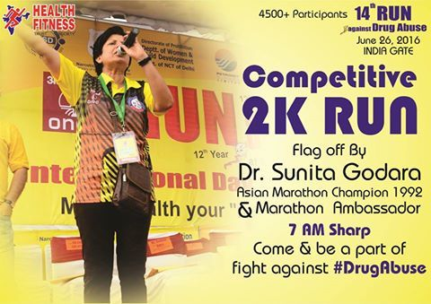 Flag off at Sharp 7am for Competitive 2km - 14th Run against Drug Abuse, June 26, 2016 by Dr. Sunita Godara, Asian Marathon champion and Director, Health Fitness Trust Thawar Chand Gehlot Ministry of Social Justice and Empowerment Ministry of Home Affairs, Govt. of India ONGC ONGC Limited Lovely Professional University - LPU Petronet LNG Limited Narcotics Control Bureau NTPC Limited Health Fitness Trust Indraprastha Gas Limited Come and be a part of fight against ‪#‎DrugAbuse‬…