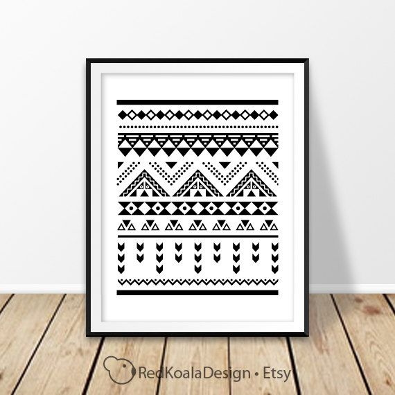 Aztec wall art, Printable art, Tribal pattern, Black and white, Southwestern style, Geometric print, Minimalist art, Digital prints, Instant by RedKoalaDesign on Etsy