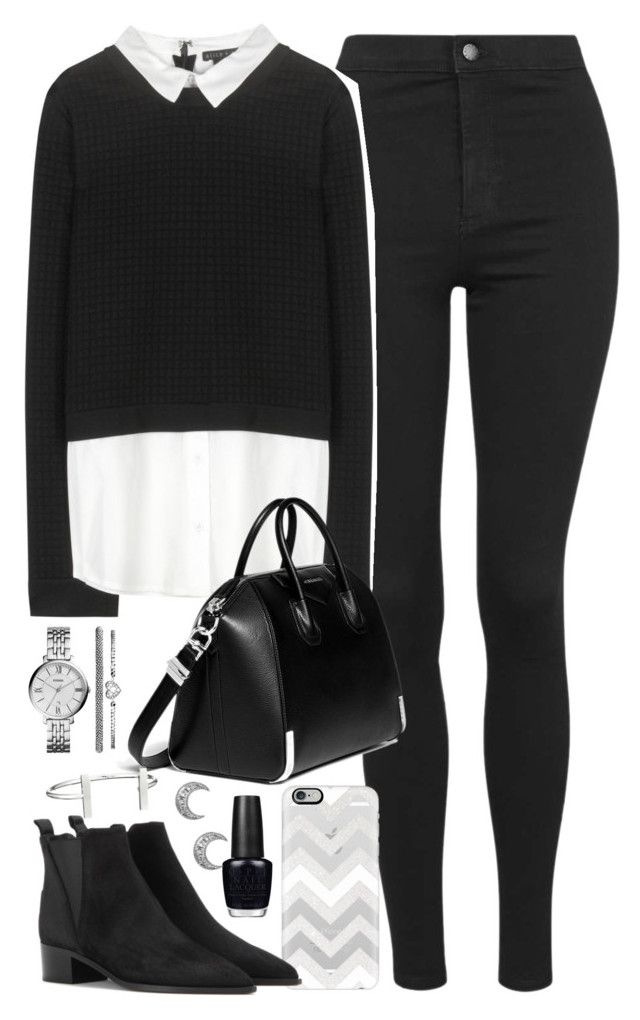 """""""Outfit with black jeans and collared jumper"""" by ferned on Polyvore featuring Topshop, Alice + Olivia, Casetify, Givenchy, Acne Studios, FOSSIL, French Connection and OPI"""