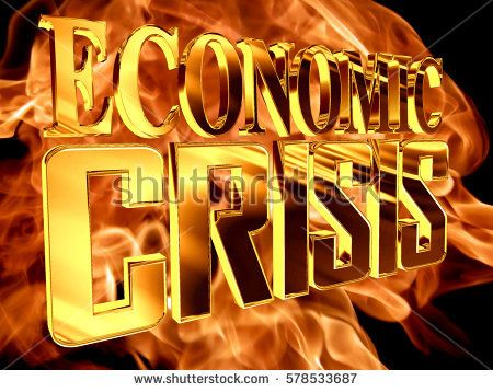 3d illustration. Golden Text the economic crisis on the background of a flame of fire