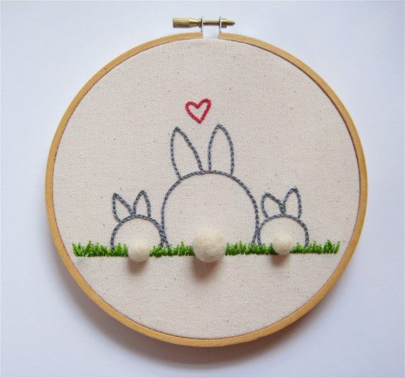 Mother Bunny Rabbit Embroidery Hoop Art